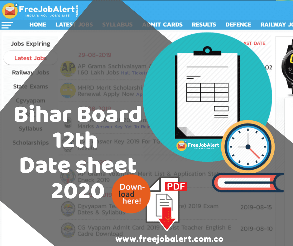 Bihar Board Intermediate Time Table 2020, Bihar Board 12th Time Table 2020, Bihar intermediate exam date 2020, BSEB 12th Time Table, BSEB Intermediate Routine 2020, bihar board 12th exam routine, BSEB Class 12th Board Exam 2020 ,