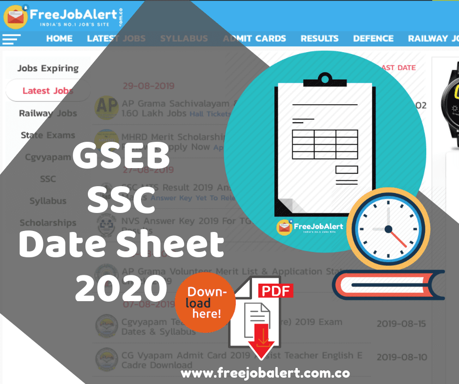 Gujarat Board SSC Time Table 2020, GSEB 10th Time Table 2020, GSEB SSC Time Table 2020, Gujarat Board 10th Class Date Sheet 2020, Gujarat Board SSC Time Table 2020, gujarat board ssc exam time table 2020,