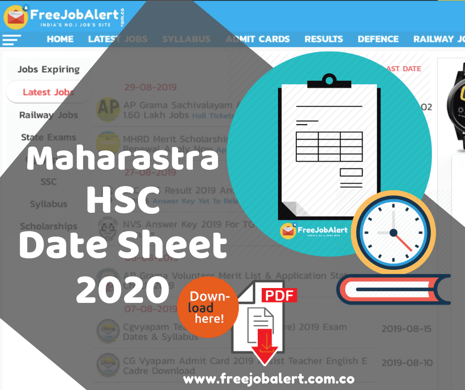 Maharashtra HSC Time Table 2020, Maharashtra 12th Time Table 2020, Maharashtra HSC timetable 2020 Science,Arts Commerce. MSBSHSE 12th Time Table PDF