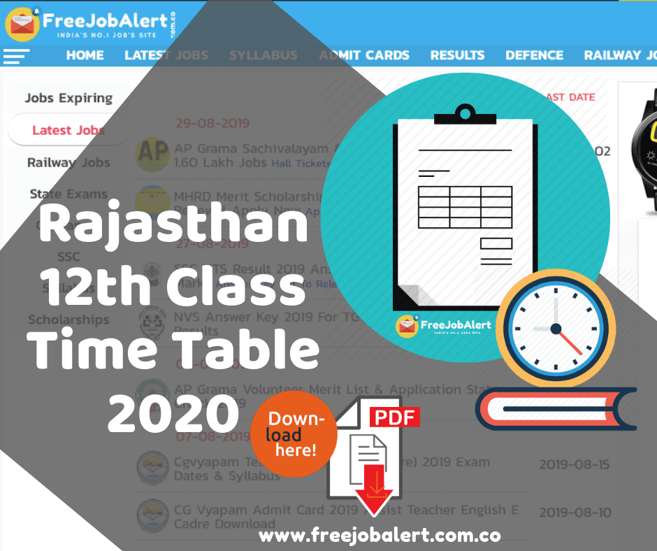Rajasthan Board 12th Class Time Table 2020