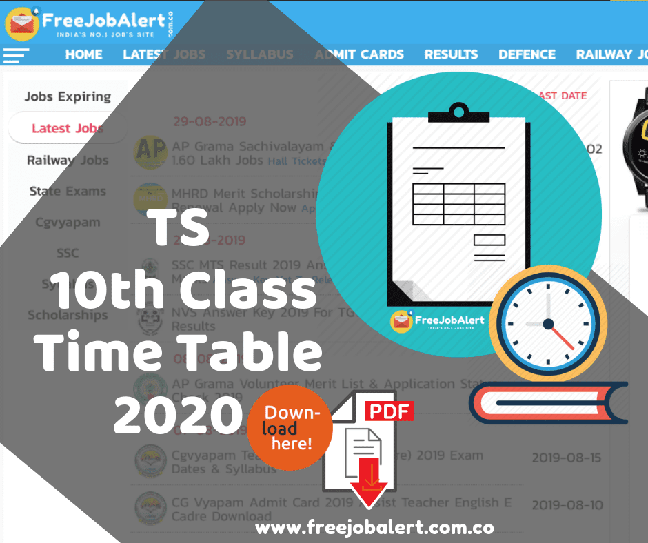 TS SSC Time Table 2020, Telangana 10th Class Time Table, TS SSC exam timetable 2020, Telangana 10th board exam timetable 2020, TS 10th Class Time Table 2020, Telangana SSC 10th Exam Time Table